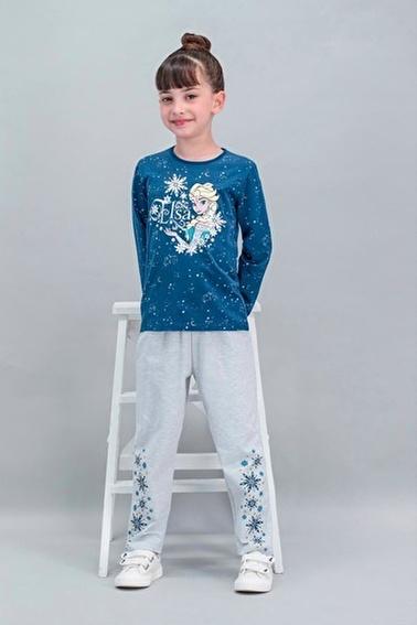 Frozen Karlar Ülkesi - Frozen Lisanslı Pembe Kız Çocuk Pijama Takımı Lacivert